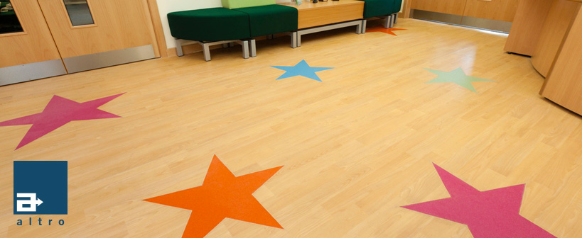 Safety flooring for hospital wards, classrooms, libraries and public spaces